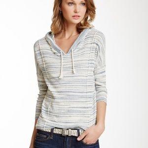 Lucky Brand Malibu Striped Hoodie V Neck Sweater